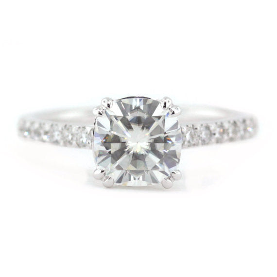 Deposit RESERVED for CR Diamond and Moissanite Engagement Ring - Vienna Round Hearts And Arrows - Moissanite Rings