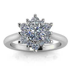 Dainty Diamond Halo Engagement Ring 5 mm Center Stone - Petite Snowflake - Moissanite Rings