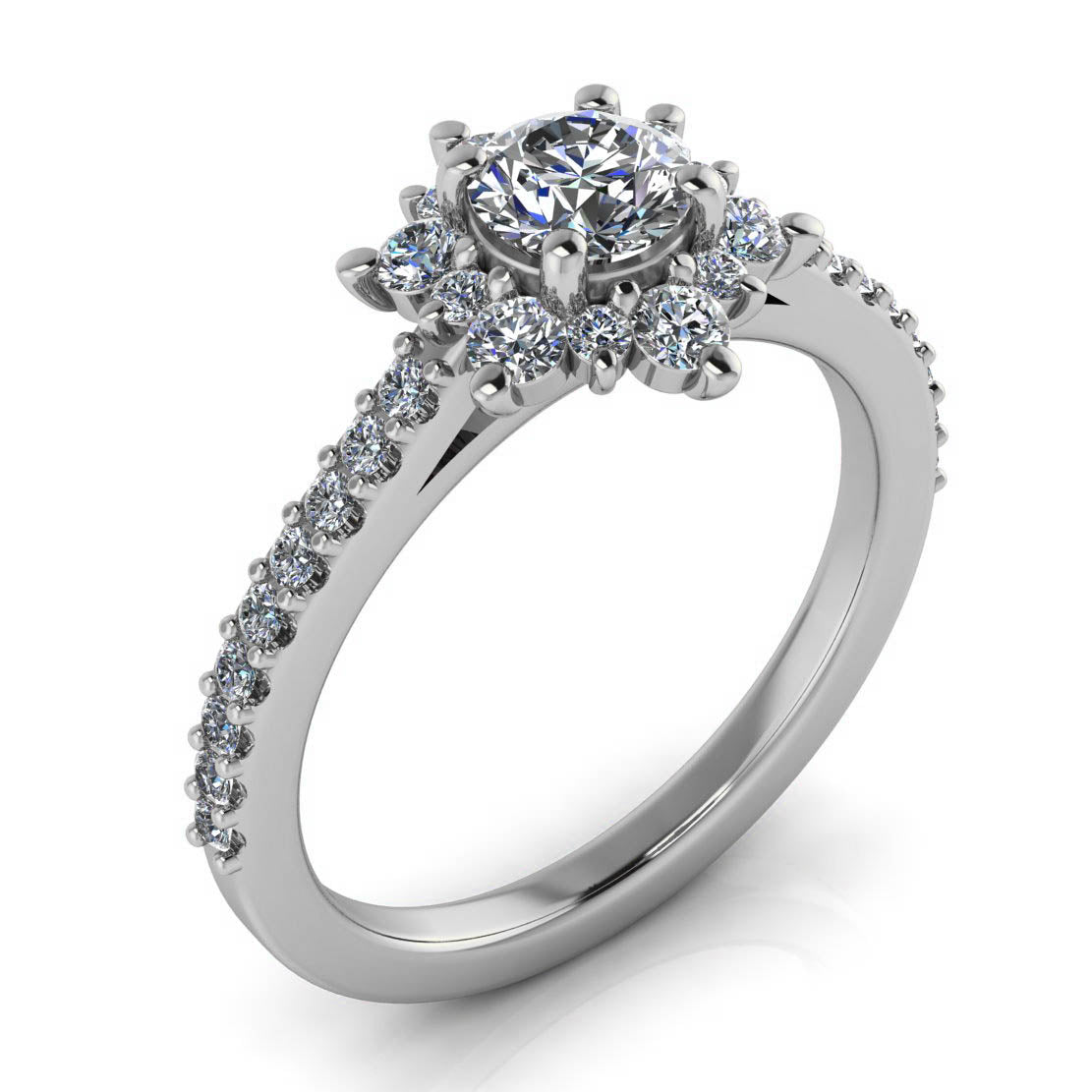 Dainty Diamond Halo Engagement Ring 5 mm Center Stone - Petite Snowflake II - Moissanite Rings