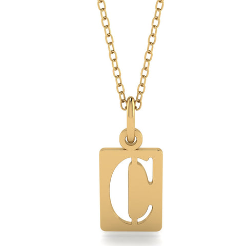 Personalized Gold Initial Stencil Tag - Moissanite Rings