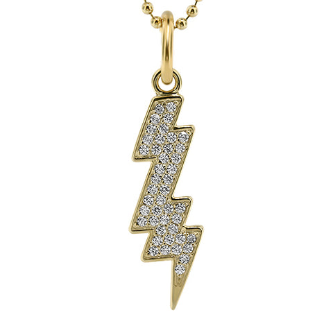 Pave Diamond  Lightning Bolt Necklace - Moissanite Rings