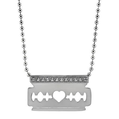 Diamond Razor Blade Pendant and Chain - Moissanite Rings