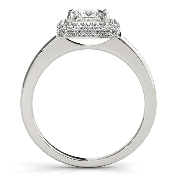 Wedding Set Princess Cut Bezel Set Diamond Halo Engagement Ring with Matching Diamond Band - Belle - Moissanite Rings