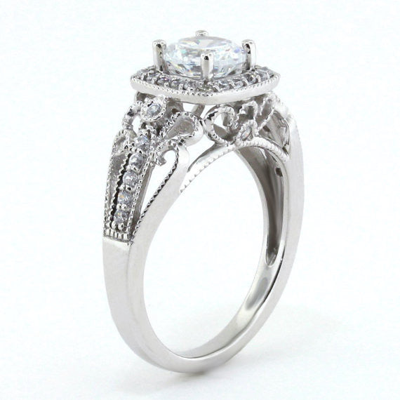 Vintage Style Halo Engagement Ring - Layne - Moissanite Rings