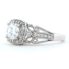 Vintage Style Halo Engagement Ring - Stellina - Moissanite Rings