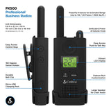 Cobra PX500 Pro Business 1W IP54 Water-Resistant Hands-Free Extended Range UHF Two-Way Radio, 2-Pack