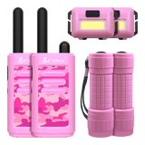 Kids Walkie Talkies for Girls Bundle - Two Pink Camo Walkie Talkies with LED Flashlights & Headlamps