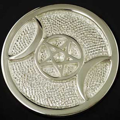 Altar Tile Triple Moon Silver Plated 3.5""