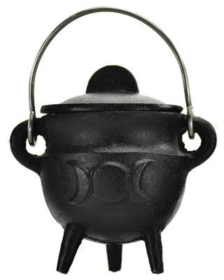 Triple Moon cast iron cauldron w/ lid 2 3/4""