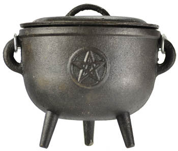 Pentagram cast iron cauldron 5 1/2""