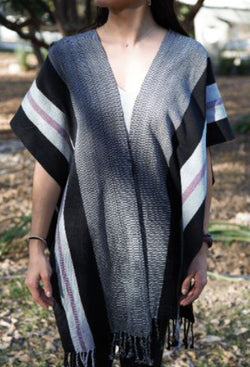 BLACK PONCHO WITH GRAY AND RED STRIPES
