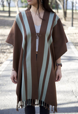 BROWN PONCHO WITH BLUE STRIPES