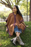 BROWN PONCHO WITH PURPLE STRIPES