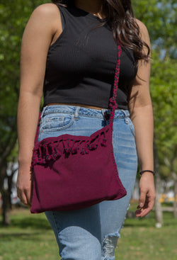BURGUNDY BAG WITH BLACK ACCENTS