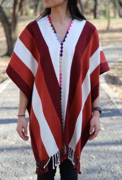 PONCHO WITH WHITE AND BURGUNDY STRIPES