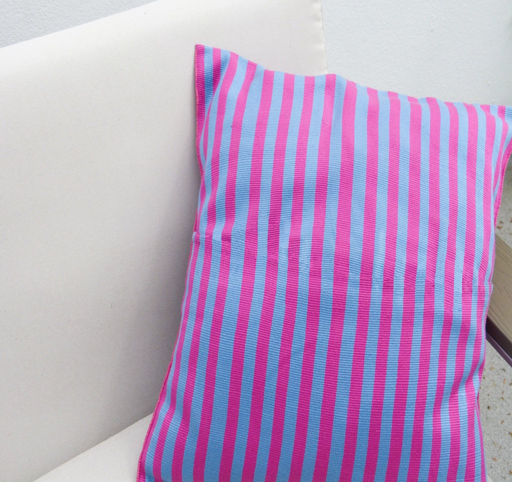 PINK AND BLUE CUSHION COVER