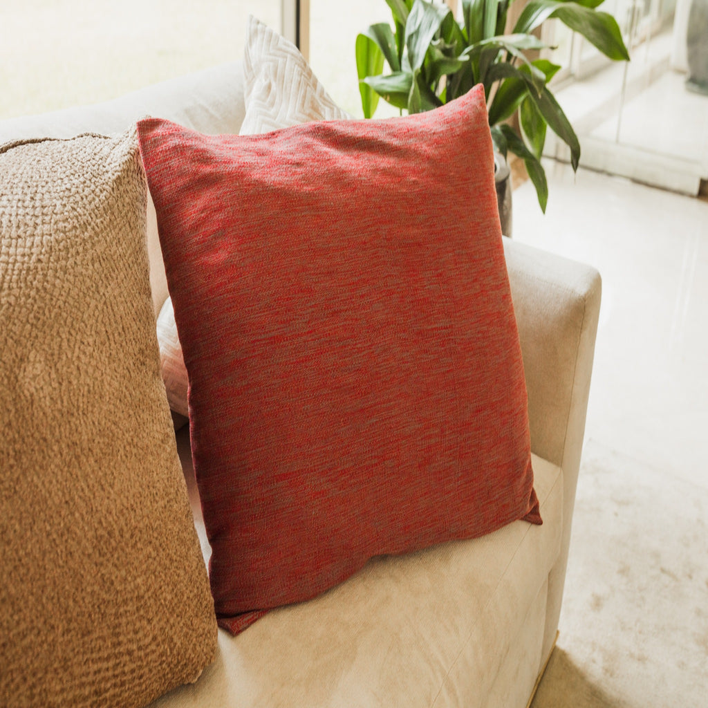 RED AND GRAY CUSHION COVER
