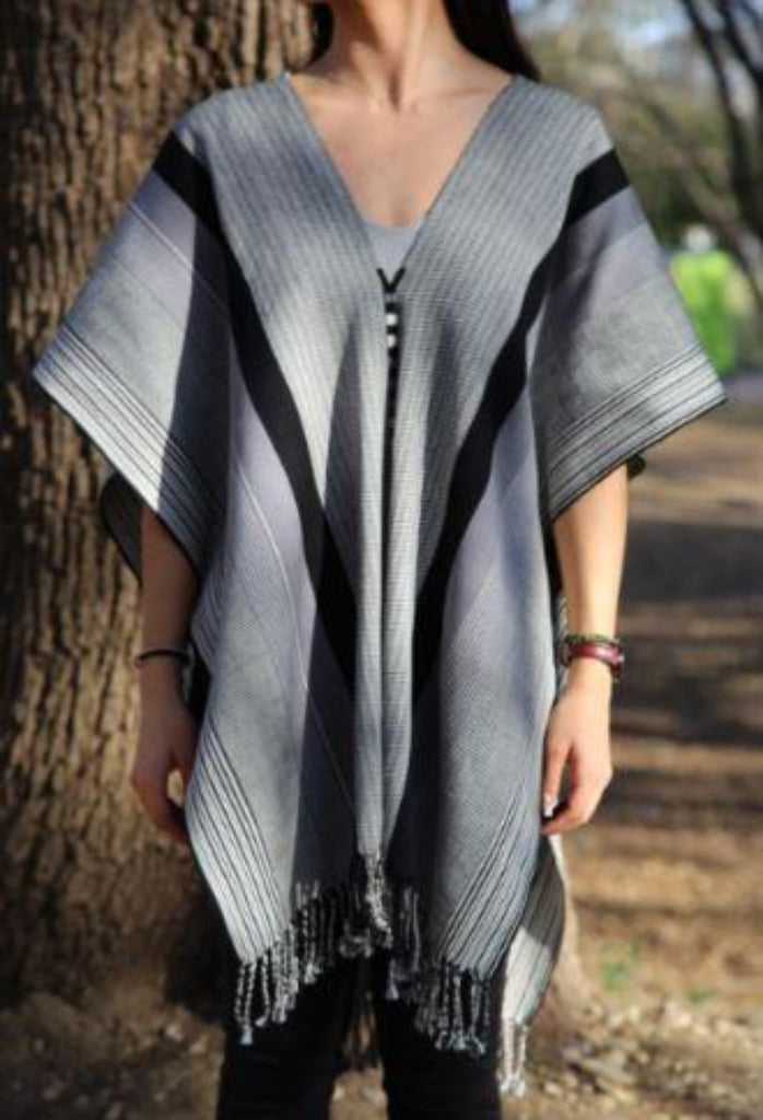 GRAY PONCHO WITH BLACK STRIPES