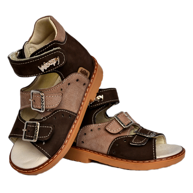 Sandals Woopy 003 Brown Boy Arch and Ankle Support Baby Plus Australia