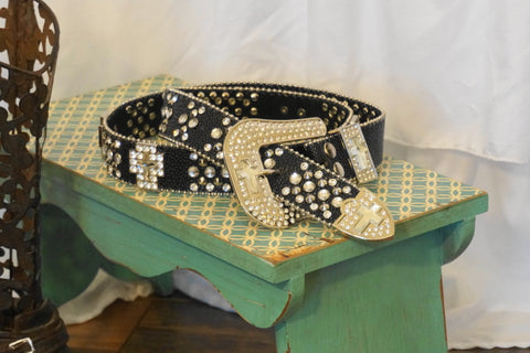 Rhinestone Cross Studded Leather Belt