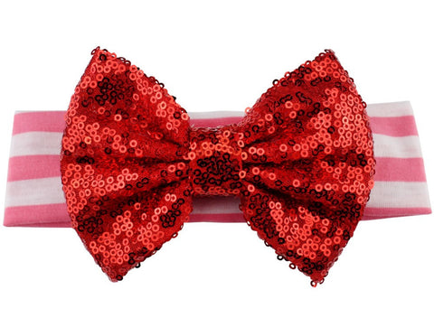 Sequin Bow Stripe Headband