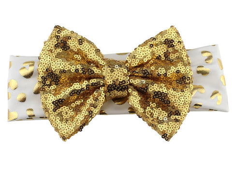 Metallic Leopard Print Bow Headband