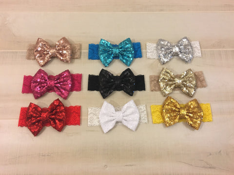 Sequin Bow Lace Headband