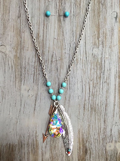 Long Feather & Arrow Necklace