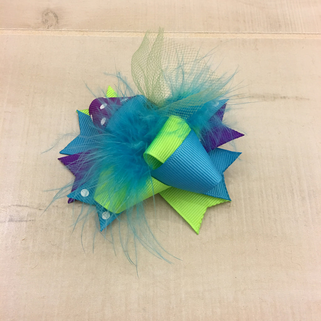 Purple & Blue Mini Clip Bow