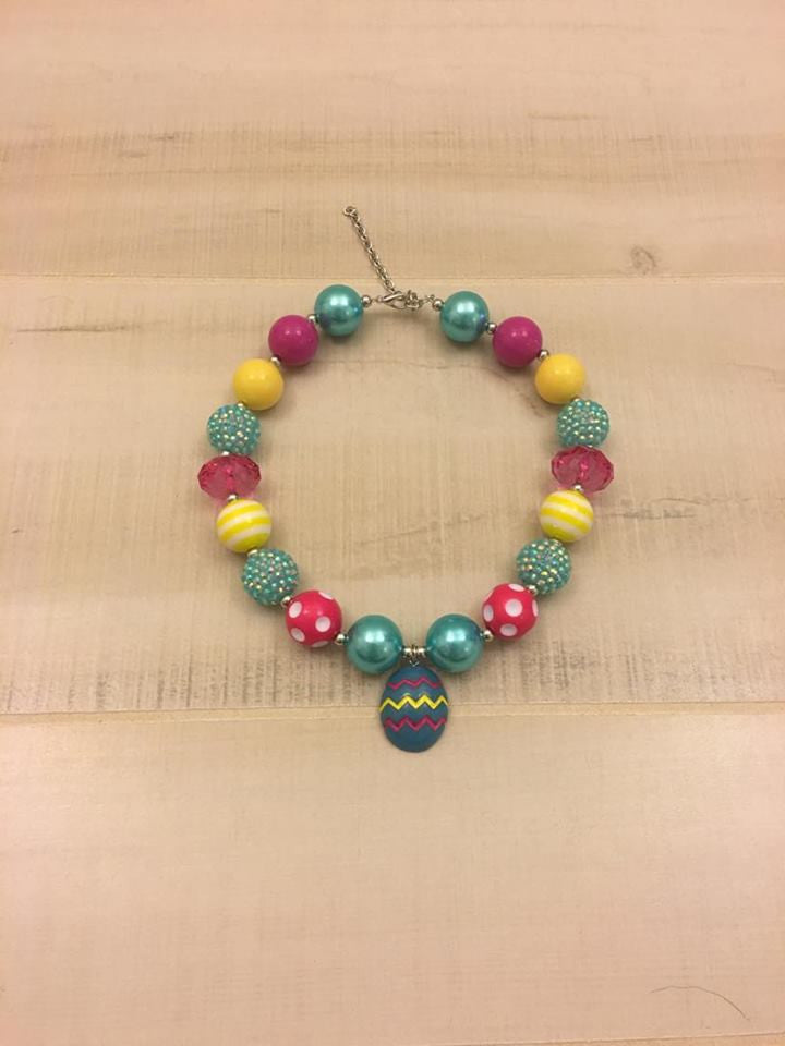 Chevron Easter Egg Chunky Bead Necklace