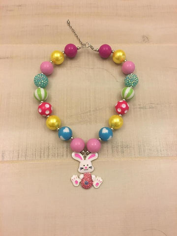 Easter Bunny Chunky Bead Necklace