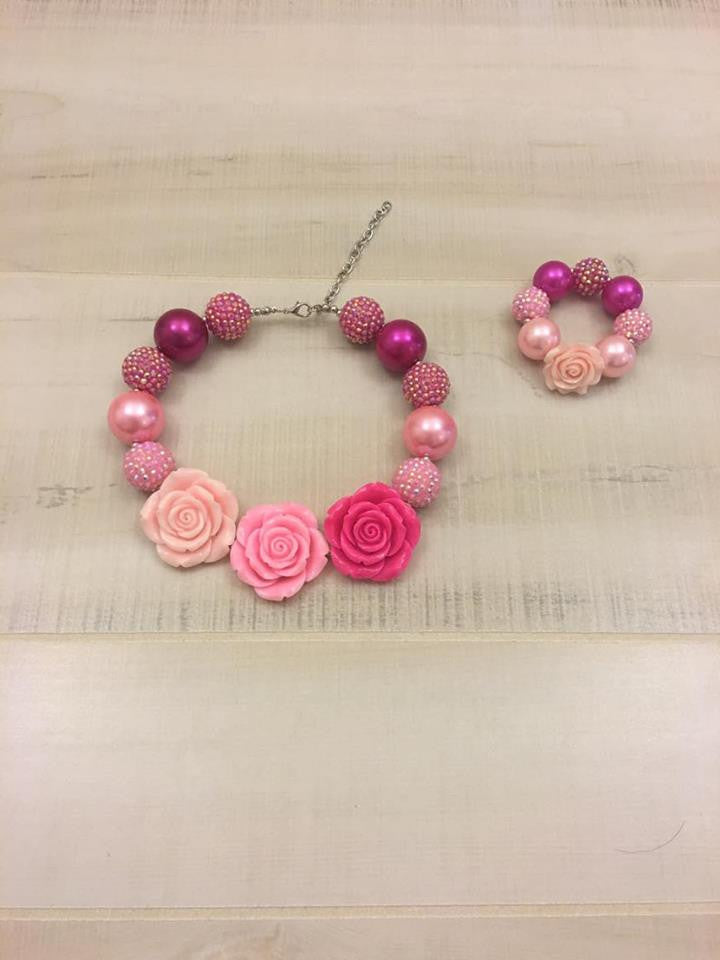 Pink Rose Chunky Bead Necklace