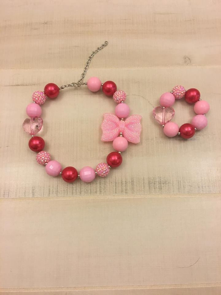 Red and Pink Bow Chunky Bead Necklace