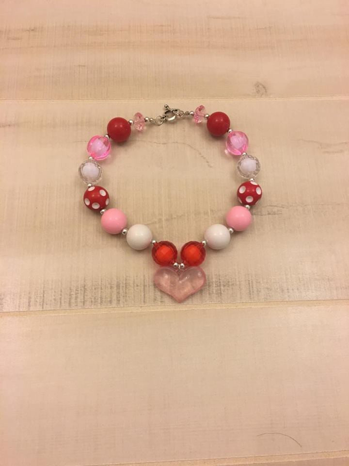 Red and Pink Heart Chunky Bead Necklace
