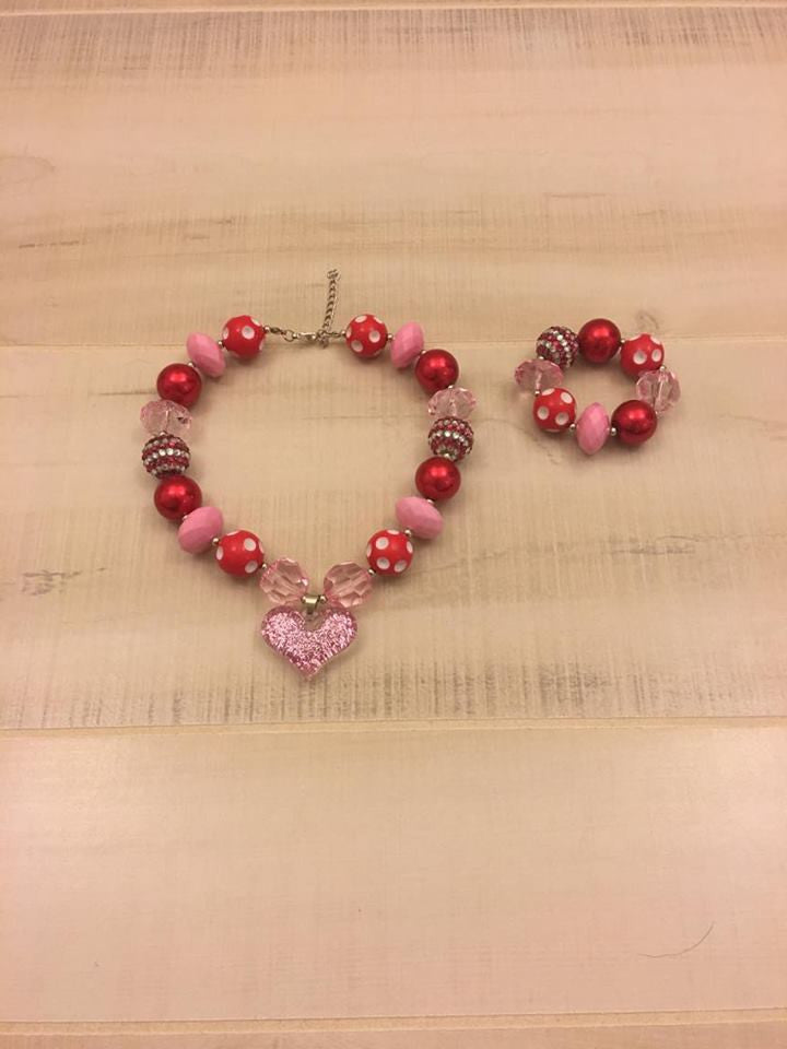 Red Stripe Chunky Bead Bracelet