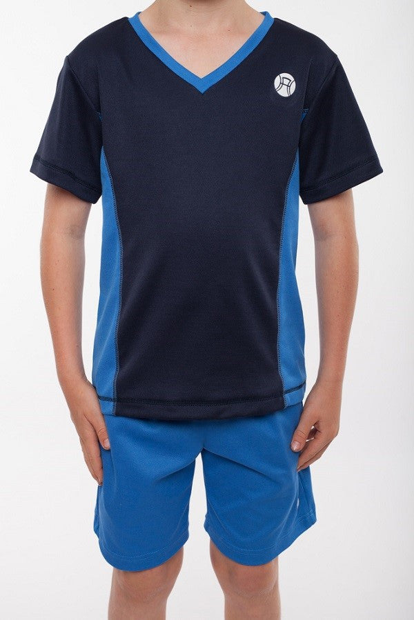 boys v neck sports top navy and bright blue, boys v neck tennis top, boys tennis shirt, boys sports shirt, boys activewear