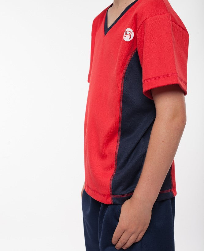 boys v neck sports top red and navy, boys v neck tennis top, boys tennis shirt, boys sports shirt, boys activewear