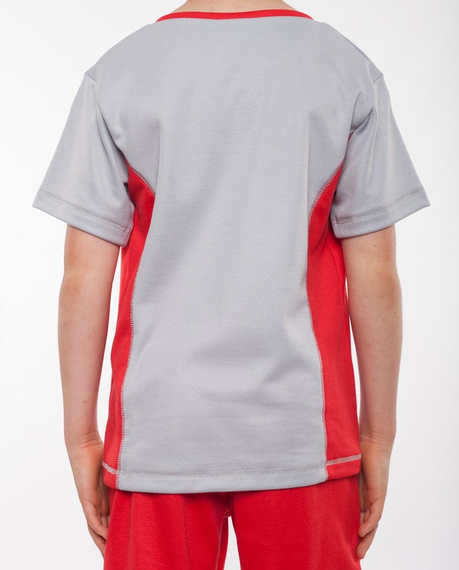 boys v neck sports top silver and red, boys v neck tennis top, boys tennis shirt, boys sports shirt, boys activewear