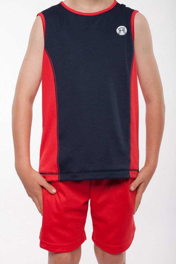 boys sleeveless sports top navy and red, boys sleeveless tennis top, boys tennis shirt, boys sports shirt, boys activewear