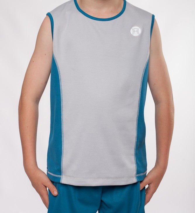 boys sleeveless sports top silver and teal, boys sleeveless, boys tennis top, boys tennis shirt, boys activewear