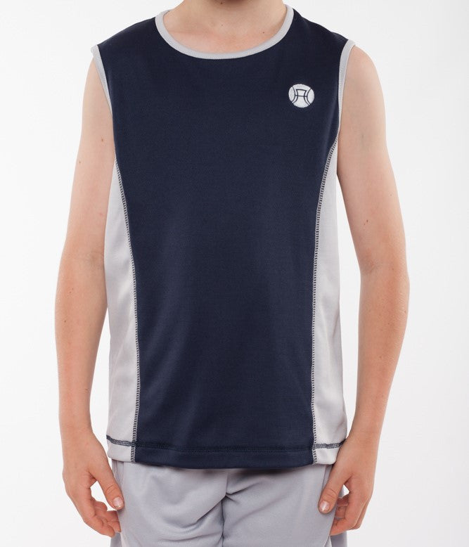 boys sleeveless sports top navy and silver, boys sleeveless tennis top, boys tennis shirt, boys sports shirt, boys activewear