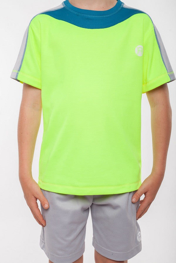 boys round neck sports top fluoro yellow, boys tennis top, boys sports shirt, boys tennis shirt, boys activewear