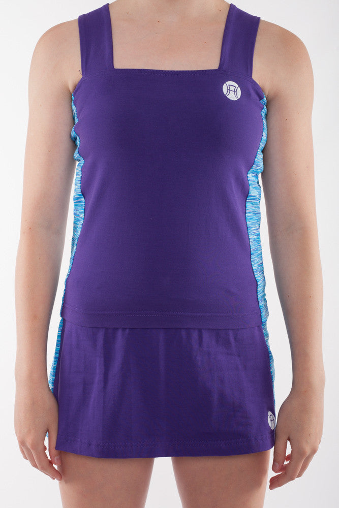 Girls sports top with side panels, girls tennis top, girls activewear, tennis top