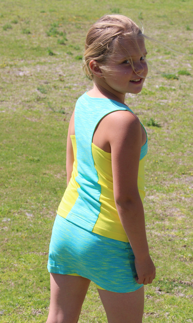 Girls centre panel top in Daffodil/Electric Lime