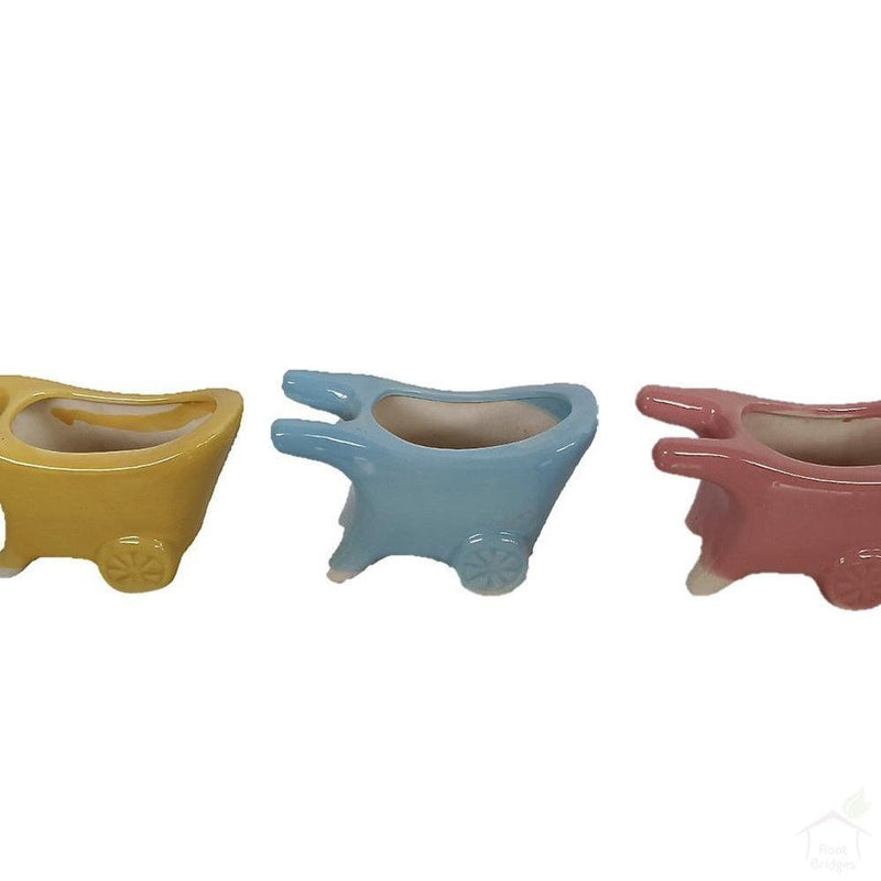 "5.25"" Cart Ceramic Pot-Pots-Root Bridges"