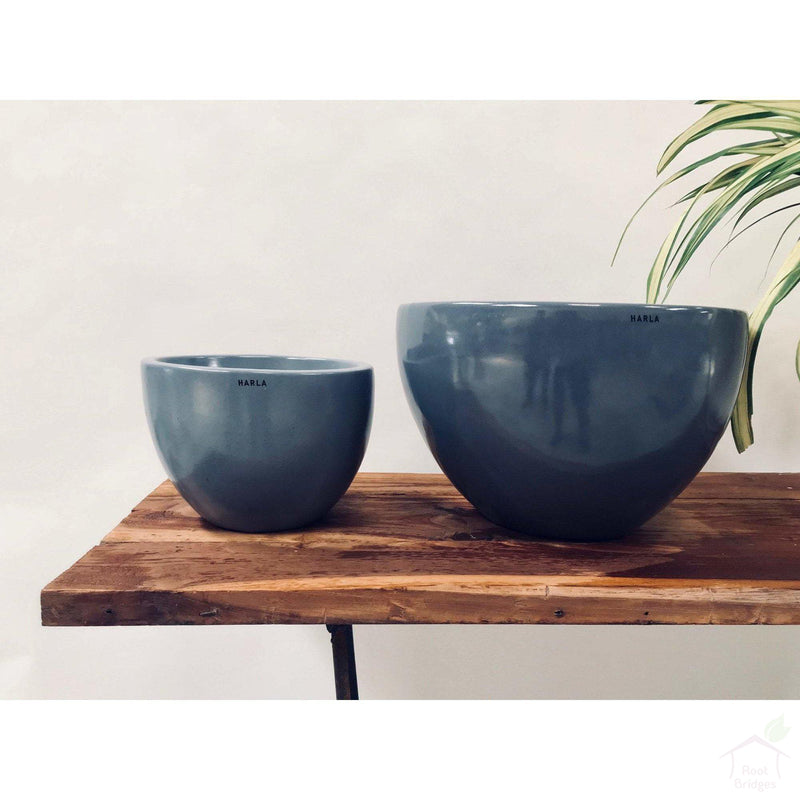 "Pots 9""-11.8"" Echoing Eternity (Broad) Ceramic Pots with Optional Wooden Stands"