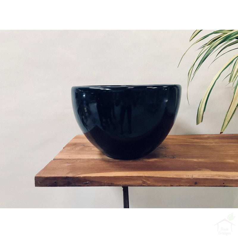 "Pots Large / Black / No 9""-11.8"" Echoing Eternity (Broad) Ceramic Pots with Optional Wooden Stands"
