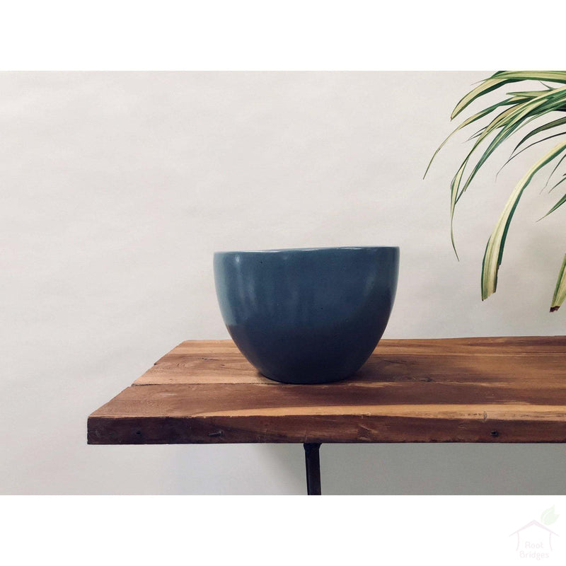 "Pots Medium / Grey / No 9""-11.8"" Echoing Eternity (Broad) Ceramic Pots with Optional Wooden Stands"