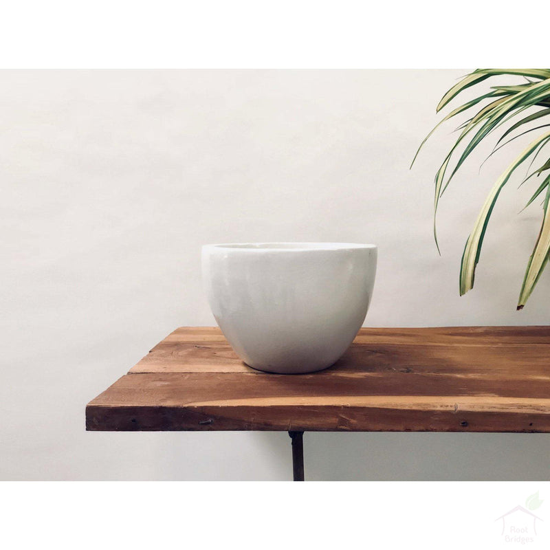 "Pots Medium / White / No 9""-11.8"" Echoing Eternity (Broad) Ceramic Pots with Optional Wooden Stands"