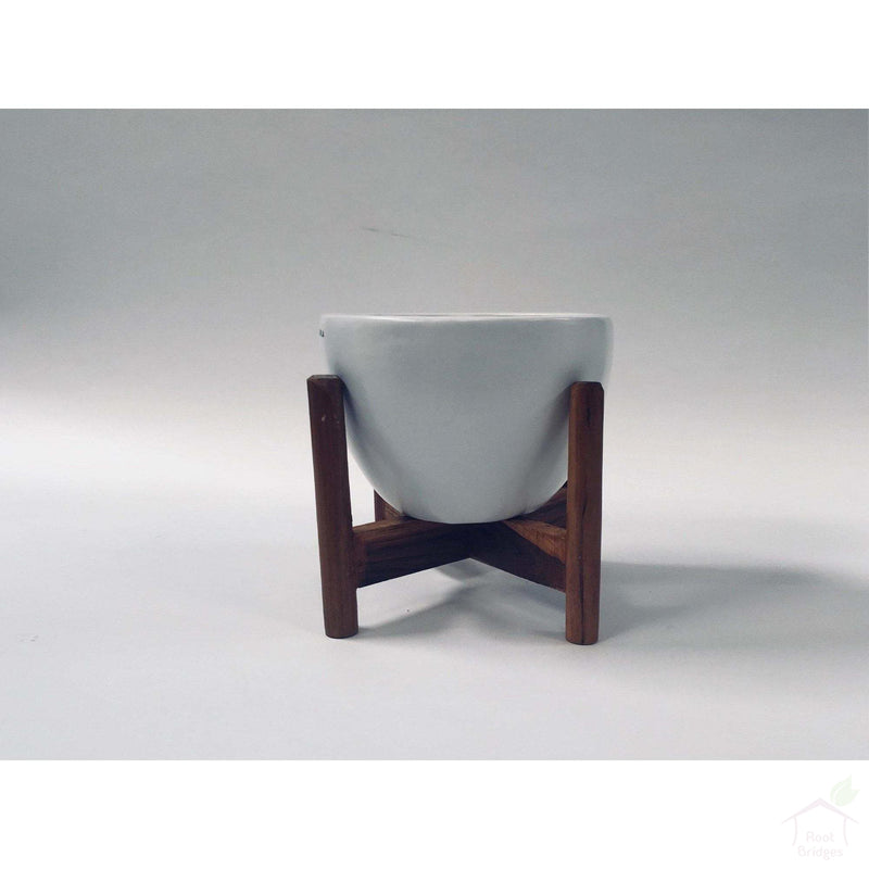 "Pots Medium / White / Yes 9""-11.8"" Echoing Eternity (Broad) Ceramic Pots with Optional Wooden Stands"